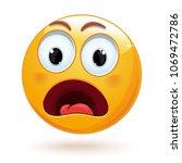 shocked face emoji. cute... | Shutterstock .eps vector #1069472786