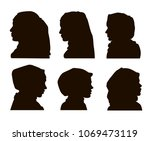 elegant muslim lady head with... | Shutterstock . vector #1069473119