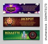 gambling banners with roulette... | Shutterstock .eps vector #1069473173