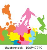 Girls, kids jumping vector silhouette set background - stock vector