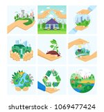 set of environment protection ... | Shutterstock .eps vector #1069477424