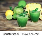 healthy green smoothie ... | Shutterstock . vector #1069478090