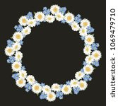 chamomile and forget me not...   Shutterstock .eps vector #1069479710