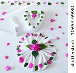 bed in hotel decorated with...   Shutterstock . vector #1069479980