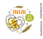 pretzel concept design. hand... | Shutterstock .eps vector #1069481078
