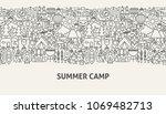 summer camp banner concept.... | Shutterstock .eps vector #1069482713