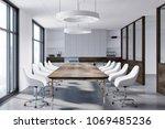 white boardroom interior with a ... | Shutterstock . vector #1069485236