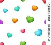 heart seamless cartoon pattern. ... | Shutterstock .eps vector #1069485560