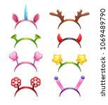 funny cartoon headbands with... | Shutterstock .eps vector #1069489790