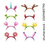 funny cartoon headbands with... | Shutterstock .eps vector #1069489790