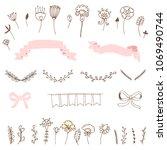 romantic set of doodles of...   Shutterstock . vector #1069490744
