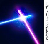 crossing laser sabers war.... | Shutterstock .eps vector #1069492988
