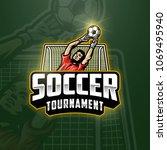 soccer goalkeeper emblem in... | Shutterstock .eps vector #1069495940