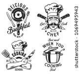 set of cooking emblem on white... | Shutterstock .eps vector #1069495943