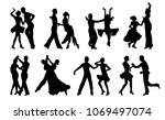 black isolated dancing couples... | Shutterstock .eps vector #1069497074
