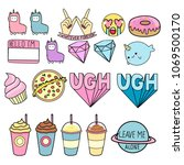 stickers for diaries  vector... | Shutterstock .eps vector #1069500170
