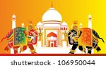 two elephants and taj mahal | Shutterstock .eps vector #106950044