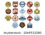 mountain camping logo set  wild ... | Shutterstock .eps vector #1069513280