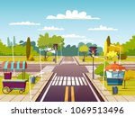 city street sidewalks vector... | Shutterstock .eps vector #1069513496