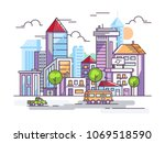 city street with tall houses...   Shutterstock .eps vector #1069518590