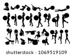 vector set of silhouettes with... | Shutterstock .eps vector #1069519109
