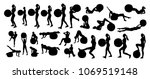 vector set of silhouettes with... | Shutterstock .eps vector #1069519148