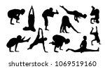 vector set of yoga silhouettes | Shutterstock .eps vector #1069519160