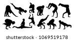vector set of yoga silhouettes | Shutterstock .eps vector #1069519178