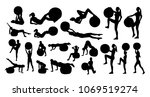 vector set of silhouettes with... | Shutterstock .eps vector #1069519274