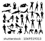 vector fitness silhouettes   Shutterstock .eps vector #1069519313
