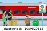 parents with child at railway... | Shutterstock .eps vector #1069520618