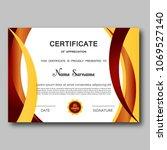 certificate of appreciation... | Shutterstock .eps vector #1069527140