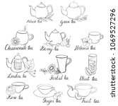 different types of tea isolated ... | Shutterstock .eps vector #1069527296