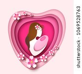mother day holiday celebration  ... | Shutterstock .eps vector #1069528763