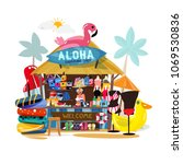 beach booth with tropical beach ... | Shutterstock .eps vector #1069530836