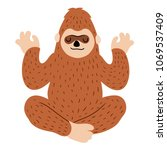 Stock photo bigfoot meditating yoga lotus pose 1069537409