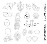 vector hand drawn fruits and... | Shutterstock .eps vector #1069539518