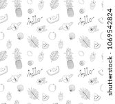 hand drawn fruits and leaves.... | Shutterstock .eps vector #1069542824