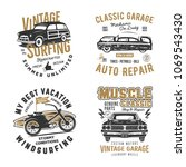 vintage hand drawn tee prints... | Shutterstock .eps vector #1069543430