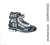 vintage hand drawn hiking boots.... | Shutterstock .eps vector #1069543433