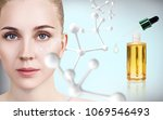young woman with big white...   Shutterstock . vector #1069546493