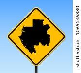gabon map road sign. square... | Shutterstock .eps vector #1069546880