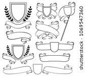 heraldic ribbons and crest... | Shutterstock .eps vector #1069547360