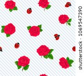 Stock vector ladybug and roses seamless pattern texture background on white and blue diagonal stripes 1069547390