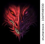 Stock photo head of angry red dragon on the black background digital painting 1069548530
