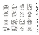 set of simple line art icons... | Shutterstock .eps vector #1069549910