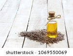 flax seed  bottle of linseed... | Shutterstock . vector #1069550069
