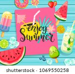 enjoy summer card with... | Shutterstock .eps vector #1069550258