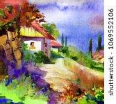 watercolor colorful bright... | Shutterstock . vector #1069552106