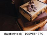in the room on the floor old... | Shutterstock . vector #1069554770
